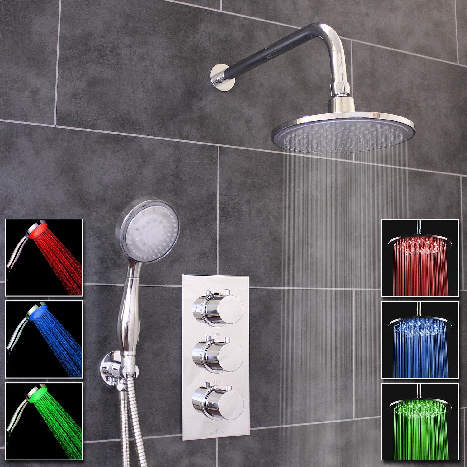 Thermostatic 2 Way Shower Valve 3 Round Handles With Round Led Overhead Shower Drencher Led Handset Ecospa